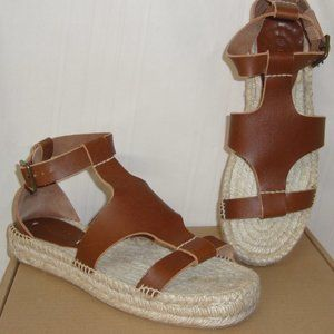 Soludos  Banded Shield Walnut Leather Sandals 9